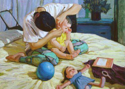 Moeder met kind op bed,95x120cm,2001